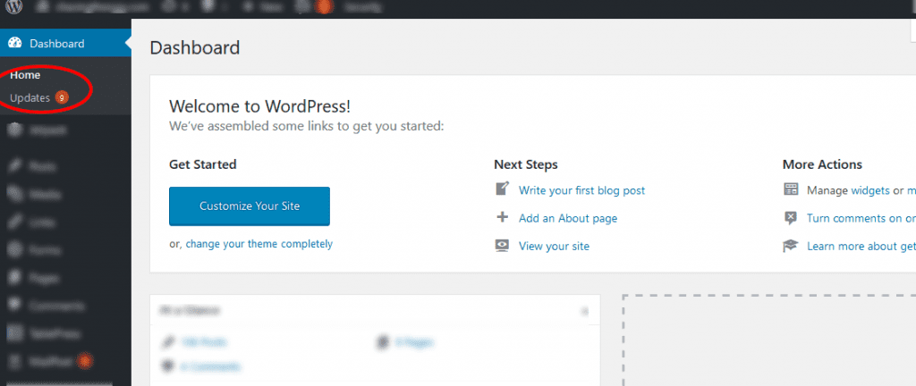 WordPress dashboard with updates
